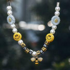 Collar con Perlas,Girasoles,Caras sonrientes y Abeja