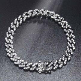 8mm Pulsera Cubana de Plata con Diamantes