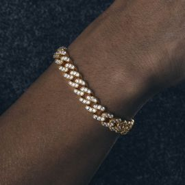 8mm Pulsera Cubana de Oro con Diamantes