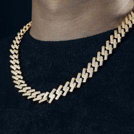14mm Cadena Cubana de Miami con Cierre de Caja de Oro con Diamantes