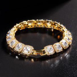 10mm Pulsera de tenis con diamantes baguette de oro de 18K