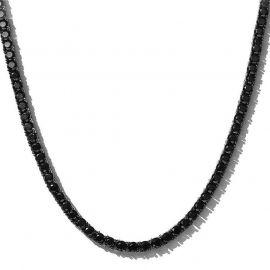Cadena de Tenis con Piedras Negras de 5 mm de Oro Negro