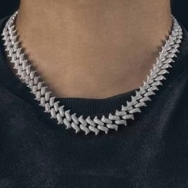 14mm Cadena Cubana de Miami en forma de Espina con Cierre de Caja Grande de Plata con Diamantes