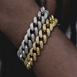 Pulsera Cubana con Diamantes de Plata de 18K de 13mm