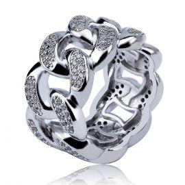 Anillo Cubano de Plata con Diamantes de 13 mm