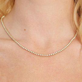 Cadena de Tenis de Cristal para Mujeres de Oro de 3mm