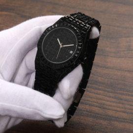 39mm Reloj de acero inoxidable con esfera negro con diamantes negros completos