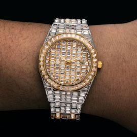 39mm Reloj de dos tonos de acero inoxidable con esfera blanca de oro con diamantes