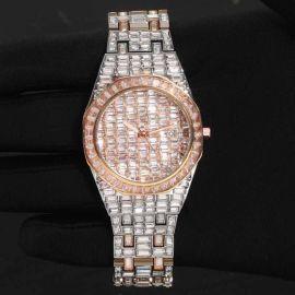 39mm Reloj de dos tonos de acero inoxidable con esfera blanca  con diamantes de oro rosa
