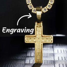 Colgante de la Cruz Religiosa de Oro con Diamantes