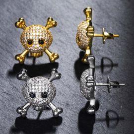 Pendientes de Cráneo y Huesos Cruzados con Diamantes