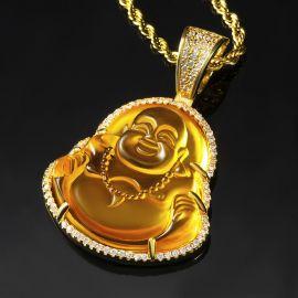 Colgante de Buda de Jade Amarillo con Diamantes