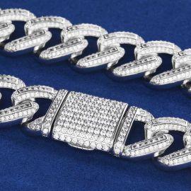 20mm Cadena de eslabones cubanos de  plata con piedras cuadradas y redondas