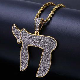 Colgante del Símbolo de Chai de Oro con Diamantes