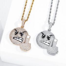 Colgante Emoji de F*CK Enojado con Diamantes