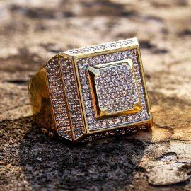Anillo con Pavé de Diamantes de forma Cuadrada para Hombres