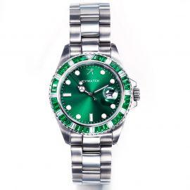 40mm Reloj de plata con esfera verde con diamantes verdes