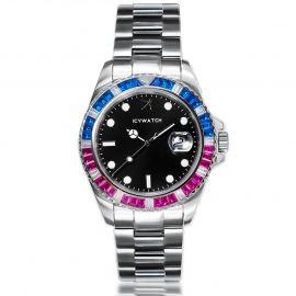 40mm Reloj de dos tonos con esfera luminosa negra en plata con diamantes
