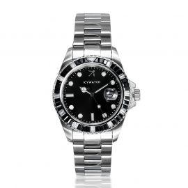 40mm Reloj de plata con esfera negro con diamantes negros