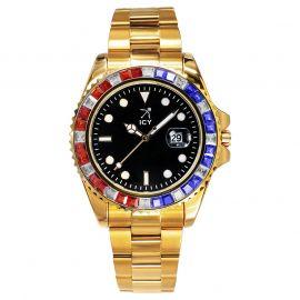 40mm Reloj de Esfera Negra con Diamantes de Dos Tonos de Oro