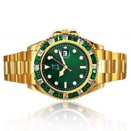 40mm Reloj de Esfera Verde con Diamantes de Dos Tonos de Oro
