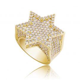 Anillo de la estrella de David con diamantes  de oro