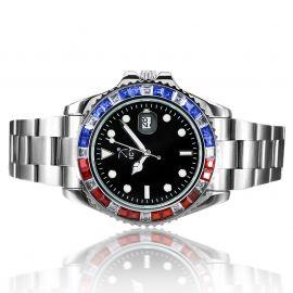 40mm Reloj de Esfera Negra con Diamantes de Dos Tonos de Plata