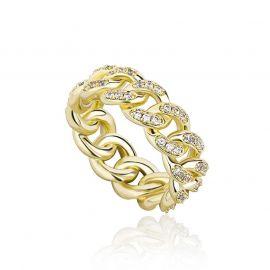 Anillo Cubano de Oro con Diamantes de 8mm