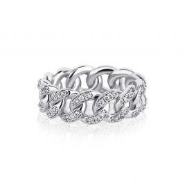 Anillo Cubano de Plata con Diamantes de 8mm