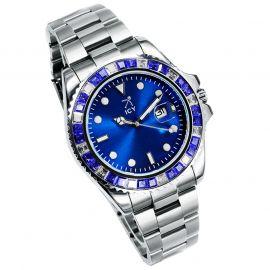 40mm Reloj de Esfera Azul con Diamantes de Dos Tonos de Plata
