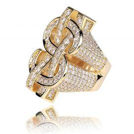 Anillo de Oro con Diamantes,Diseño del Signo de Dólar