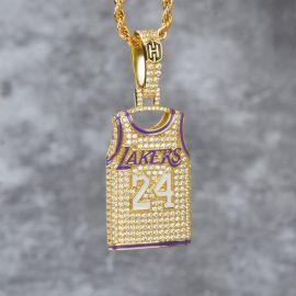 """Colgante de 24 Jersey con Diamantes con Cadena de Cuerda de 24"""" de Oro"""