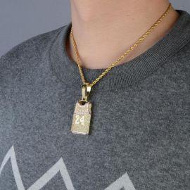 Colgante de 24 Jersey con Diamantes con Cadena de Cuerda de 24