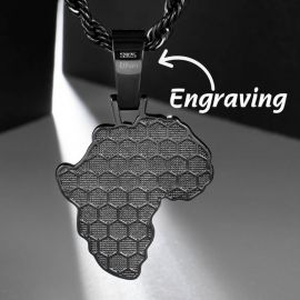 Mapa de Pantera Negra Africana con Diamantes con Cadena Franco Negra de 24