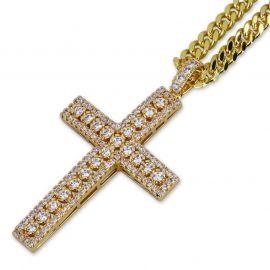 Colgante de Cruz con Diamantes de Oro con Cadena Cubana de 5mm de 24