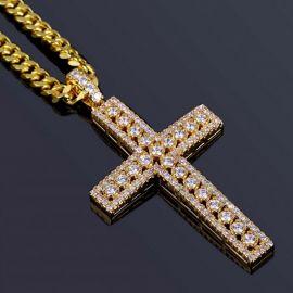 """Colgante de Cruz con Diamantes de Oro con Cadena Cubana de 5mm de 24"""" de Oro"""