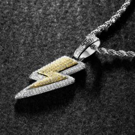 Colgante de Relámpago con Diamantes con Cadena de Cuerda de 24
