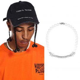 Collar de Media Perla y Cadena Cubana de Acero con Letras