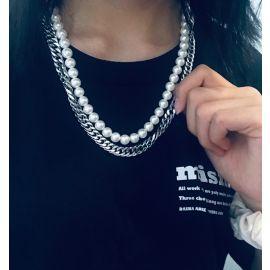 Collar de Cadena Cubana y Perlas de Doble Capa