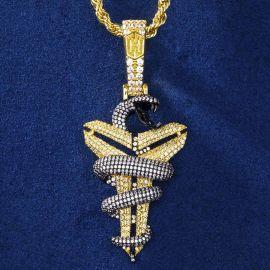 """24"""" Cadena de Cuerda de Oro con Colgante de Serpiente con Vaina de Oro con Diamantes"""