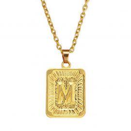 Colgante Inicial de Letras de Medallón de Oro