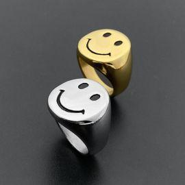 Smile Face Anillo de Acero de Titanio