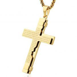 Colgante de Cruz de Acero Inoxidable del Padre Nuestro