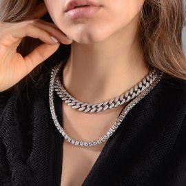 Juego de cadena cubana con diamantes de 13 mm y de cadena de tenis de 5 mm para mujeres