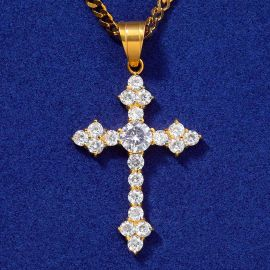Colgante Cruz con Diamantes de Oro