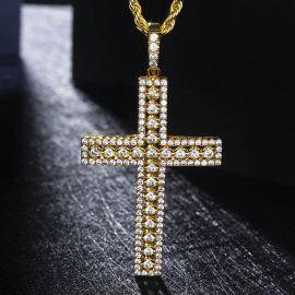 Colgante Cruz de Oro con Diamantes,Diseños Huecos
