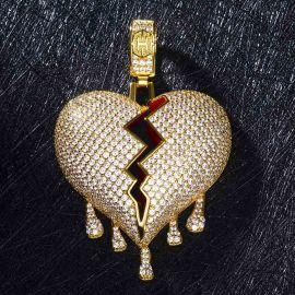 Colgante de Corazón Roto Goteando de Oro