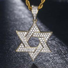 Colgante de Estrella de David de Oro con Diamantes