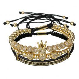 3Pcs Juego de Pulsera de Acero con Cuentas de Cobre Corona de Oro con Diamantes