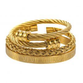 3Pcs Juego de Pulsera abierto de alambre de acero trenzado con brazalete de números romanos de oro